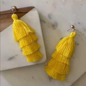 BOGO! Yellow Layered Tassel Earrings
